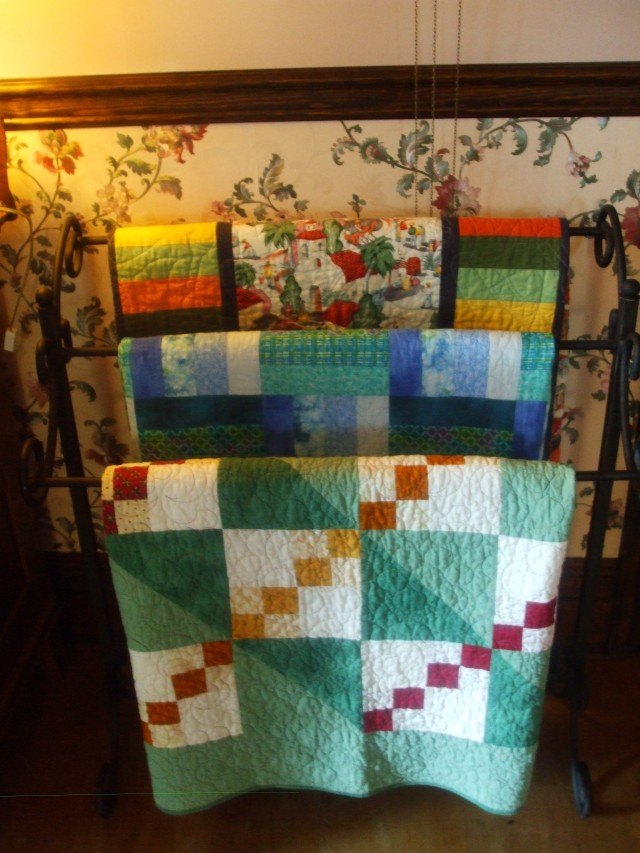 Our B&B in Port Townsend was another charming Victorian late 1800's home and I could not resist taking a pic of these quilts displayed in the dining room to share with you.